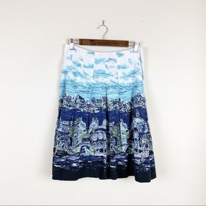 Talbots Cityscape Venice Water Color Lined Skirt